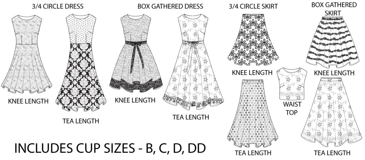 Line drawings of the Kate Vintage Tea Dress pattern, including a 3/4 circle dress with knee or tea lengths, a box gathered dress with knee or tea lengths, a crop top, and circle and box gathered skirts with